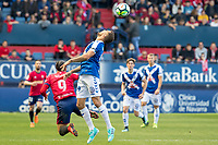 SADAR, PAMPLONA, SPAIN: The Football League, CA Osasuna vs Tenerife; Quique fights for a ball against the Tenerife Aveldaño player on day 33 of Liga 123. April 1, 2018