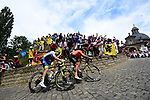 Greg Van Avermaet (BEL) CCC Team and Xandro Meurisse (BEL) Wanty-Gobert first up the Muur Kapelmuur in Gerarrdsbergen during Stage 1 of the 2019 Tour de France running 194.5km from Brussels to Brussels, Belgium. 6th July 2019.<br /> Picture: ASO/Alex Broadway | Cyclefile<br /> All photos usage must carry mandatory copyright credit (© Cyclefile | ASO/Alex Broadway)