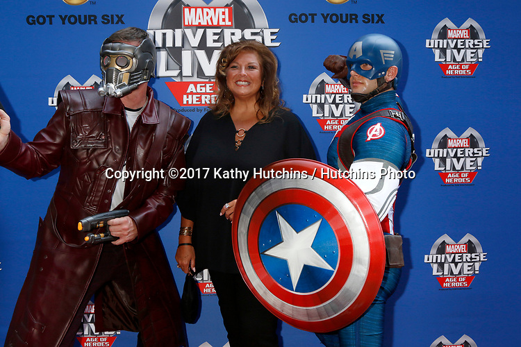 LOS ANGELES - JUL 8:  Star-Lord, Abby Lee Miller, Captain America at the Marvel Universe Live Red Carpet at the Staples Center on July 8, 2017 in Los Angeles, CA