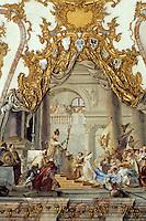 Wurzburg: Kaisershall, Residence. The Coronation of Barbarosa by Tiepolo. On ceiling. Photo '87.