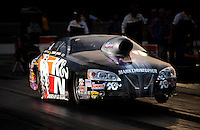 Sept. 17, 2010; Concord, NC, USA; NHRA pro stock driver Warren Johnson launches off the starting line during qualifying for the O'Reilly Auto Parts NHRA Nationals at zMax Dragway. Mandatory Credit: Mark J. Rebilas/