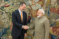 Spanish King Felipe and Narendra Modi, prime Minister of the Republic of India