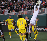 Columbus Crew goalkeeper William Hesmer (1) goes up to defend the play.    DC United defeated The Columbus Crew  3-1 at the home season opener, at RFK Stadium, Saturday March 19, 2011.