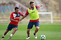 Getafe CF's Bruno Gonzalez (l) and Jorge Molina during training session. August 1,2017.(ALTERPHOTOS/Acero) /NortePhoto.com