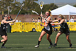 Santa Barbara, CA 02/18/12 - Taylor Haverty (Colorado #3) and unidentified Colorado player(s) in action during the 2012 Santa Barbara Shootout.  Colorado defeated Cal Poly SLO 8-7.