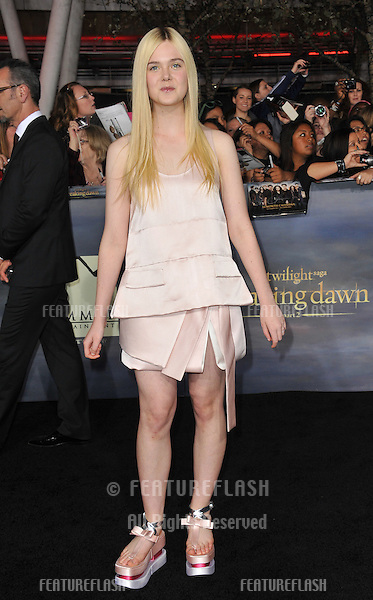 "Elle Fanning at the world premiere of ""The Twilight Saga: Breaking Dawn - Part 2"" at the Nokia Theatre LA Live..November 12, 2012  Los Angeles, CA.Picture: Paul Smith / Featureflash"