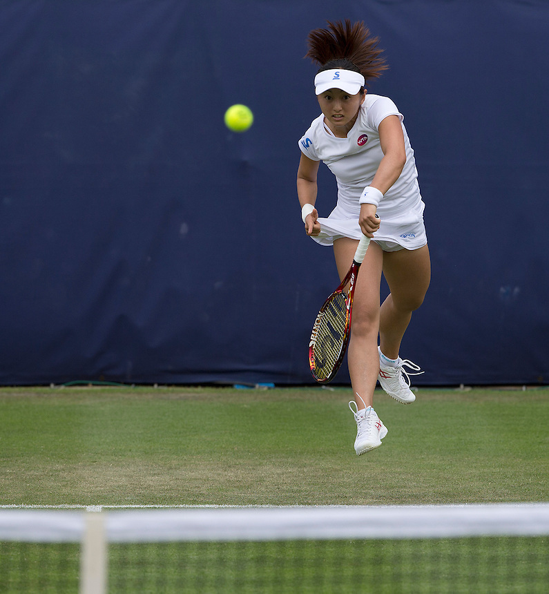Misaki Doi (JPN) in action during her defeat by Christina McHale (USA) in their Women&rsquo;s Singles Second Round match today - Christina McHale (USA) def [Q] Misaki Doi (JPN) 6-3 6-4<br /> <br /> Photographer Stephen White/CameraSport<br /> <br /> Tennis - WTA International - Aegon  Classic - Day 3 - Wednesday 17th June 2015 - Edgbaston Priory Club - Birmingham<br /> <br /> &copy; CameraSport - 43 Linden Ave. Countesthorpe. Leicester. England. LE8 5PG - Tel: +44 (0) 116 277 4147 - admin@camerasport.com - www.camerasport.com