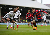 17th March 2018, Craven Cottage, London, England; EFL Championship football, Fulham versus Queens Park Rangers; Denis Odoi of Fulham puts pressure on Luke Freeman of Queens Park Rangers