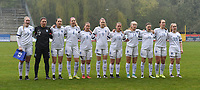 20190409  - Tubize , BELGIUM : Finland's team with Anna Koivunen (12)   Joanna Tynnila (3)   Filippa Kilponen (4)   Sanni Ojanen (5)   Oona Siren (8)   Roosa Tuominen (9)   Emmi Siren (13)   Aino Vuorinen (14)   Katariina Kosola (16)   Tuuli Enkkila (19)   Dana Leskinen (20)   pictured during the soccer match between the women under 19 teams of Switzerland and Finland , on the third matchday in group 2 of the UEFA Women Under19 Elite rounds in Tubize , Belgium. Tuesday 9 th April 2019 . PHOTO DIRK VUYLSTEKE / Sportpix.be