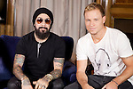 "AJ McLean and Brian Littrell of the Backstreet Boys attend their new music album ""In A World Like This"" presentation at Palace Hotel on November 12, 2013 in Madrid, Spain. (ALTERPHOTOS/Victor Blanco)"