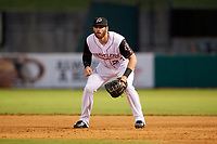 Arkansas Travelers first baseman Kyle Petty (27) during a game against the Midland RockHounds on May 25, 2017 at Dickey-Stephens Park in Little Rock, Arkansas.  Midland defeated Arkansas 8-1.  (Mike Janes/Four Seam Images)