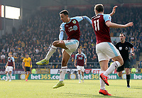 Burnley's Dwight McNeil watches as his strike beats Wolverhampton Wanderers' Rui Patricio to score his side's second goal <br /> <br /> Photographer Rich Linley/CameraSport<br /> <br /> The Premier League - Burnley v Wolverhampton Wanderers - Saturday 30th March 2019 - Turf Moor - Burnley<br /> <br /> World Copyright © 2019 CameraSport. All rights reserved. 43 Linden Ave. Countesthorpe. Leicester. England. LE8 5PG - Tel: +44 (0) 116 277 4147 - admin@camerasport.com - www.camerasport.com