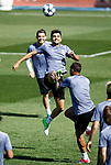Real Madrid's Mateo Kovacic (t), Enzo Zidane (c) and Carlos Henrique Casemiro during training session. April 17,2017.(ALTERPHOTOS/Acero)