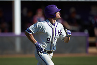 Jordan Sergent (9) of the High Point Panthers watches the flight of the baseball as he jogs down the first base line during the game against the NJIT Highlanders at Williard Stadium on February 19, 2017 in High Point, North Carolina. The Panthers defeated the Highlanders 6-5. (Brian Westerholt/Four Seam Images)