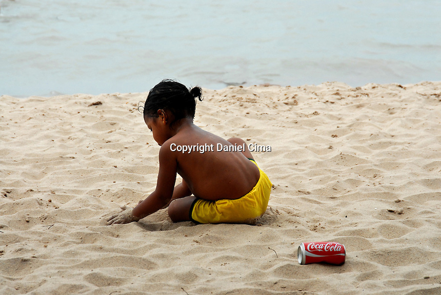Child playing on a beach in Joao Pesoa, Brazil, 2008