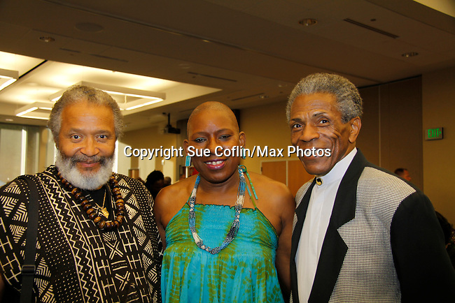 "Andre De Shields ""Marshall Lincoln Kramer III"" - Another World (C) poses with Nana Rucker & Count Stovall (AMC, ATWT, Doctors) and actor Bill Cobbs at The National Black Theatre Festival with a week of plays, workshops and much more with an opening night gala of dinner, awards presentation followed by Black Stars of the Great White Way followed by a celebrity reception. It is an International Celebration and Reunion of Spirit. (Photo by Sue Coflin/Max Photos)"