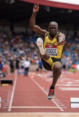 26.06.2016. Alexander Stadium, Birmingham, England. The British Athletics Championships 2016. JJ Jegede Competes in the Mens Long Jump Final at the British Athletics Championships in Birmingham.