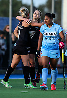 Rachel McCann of the Blacksticks celebrates a goal with Kirsten Pearce during the international hockey match between the Blacksticks Women and India, Rosa Birch Park, Pukekohe, New Zealand. Sunday 14  May 2017. Photo:Simon Watts / www.bwmedia.co.nz