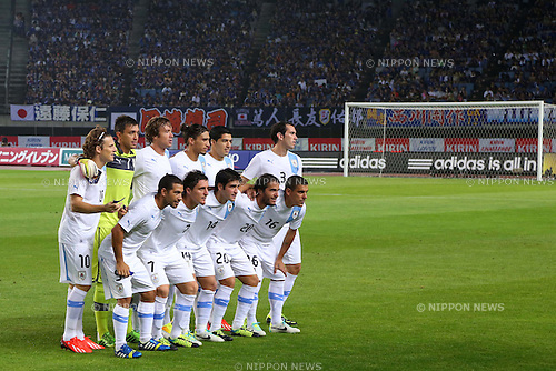 Uruguay team group line-up (URU), AUGUST 14, 2013 - Football / Soccer : <br /> KIRIN Challenge Cup 2013 match <br /> between Japan 2-4 Uruguay <br /> at Miyagi Stadium, Miyagi, Japan.<br />  (Photo by AFLO SPORT)