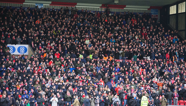Lincoln City fans enjoy the pre-match atmosphere<br /> <br /> Photographer Chris Vaughan/CameraSport<br /> <br /> The EFL Sky Bet League Two - Lincoln City v Grimsby Town - Saturday 19 January 2019 - Sincil Bank - Lincoln<br /> <br /> World Copyright &copy; 2019 CameraSport. All rights reserved. 43 Linden Ave. Countesthorpe. Leicester. England. LE8 5PG - Tel: +44 (0) 116 277 4147 - admin@camerasport.com - www.camerasport.com