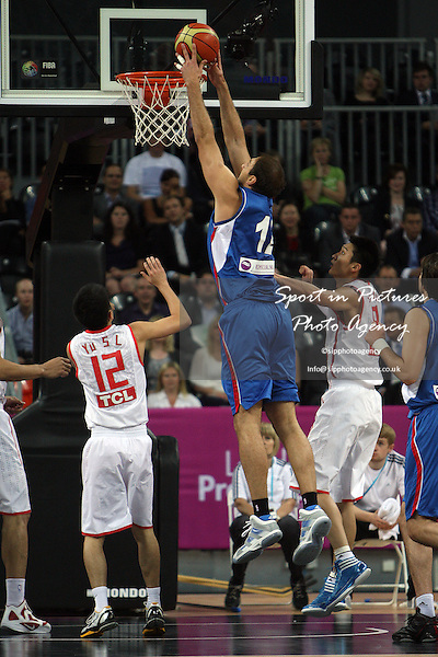 Nenad Krstic (Serbia) scores. Serbia v China. The London International Basketball Invitational. London Prepares for Olympics 2012. Basketball Arena, Olympic Park. London. 17/08/2011. MANDATORY Credit Sportinpictures/Paul Chesterton - NO UNAUTHORISED USE - 07837 394578.