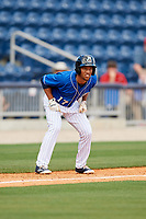 Biloxi Shuckers pinch runner Johnny Davis (17) leads off third base during a game against the Jackson Generals on April 23, 2017 at MGM Park in Biloxi, Mississippi.  Biloxi defeated Jackson 3-2.  (Mike Janes/Four Seam Images)