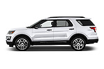 Car Driver side profile view of a 2017 Ford Explorer Sport 5 Door Suv Side View