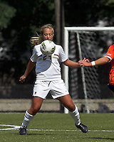 Boston College forward/midfielder Rachel Davitt (24) chest trap. Boston College defeated University of Virginia, 2-0, at the Newton Soccer Field, on September 18, 2011.