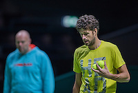 Rotterdam, Netherlands, 12 februari, 2017, ABNAMROWTT,  Robin Haase (NED) with his coach Raymond Knaap<br /> Photo: Henk Koster