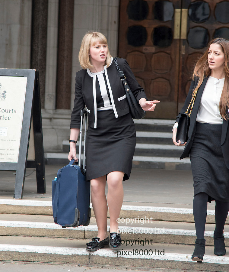 """Pic shows: Lawyer Charlotte Proudman leaving the High Court in London today  17.5.16<br />  Presumably working at a lawyer at the court after being branded a 'feminazi"""" <br /> <br /> Back in September - human rights barrister, aged 27, became a feminist figurehead after replying to a message that a partner at another firm sent her on LinkedIn. Alexander Carter-Silk, 57, used the professional network to tell Proudman that her profile picture was """"stunning"""".<br /> <br /> <br /> <br /> <br /> Pic by Gavin Rodgers/Pixel 8000 Ltd"""