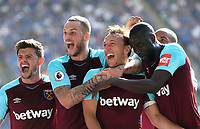 West Ham United's Mark Noble celebrates scoring his side's second goal with Aaron Cresswell, Marko Arnautovic and Cheikhou Kouyate<br /> <br /> Photographer Rob Newell/CameraSport<br /> <br /> The Premier League - Leicester City v West Ham United - Saturday 5th May 2018 - King Power Stadium - Leicester<br /> <br /> World Copyright &copy; 2018 CameraSport. All rights reserved. 43 Linden Ave. Countesthorpe. Leicester. England. LE8 5PG - Tel: +44 (0) 116 277 4147 - admin@camerasport.com - www.camerasport.com