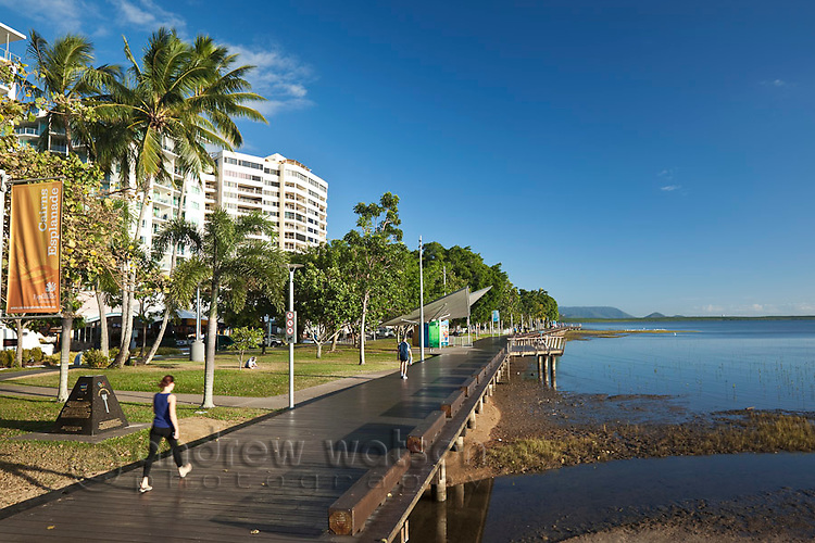 View along the Esplanade boardwalk.  Cairns, Queensland, Australia