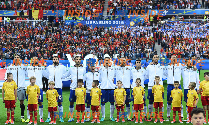 Formazione Italia durante l'inno Team Italy during the national anthem <br /> Lyon 13-06-2016 Stade de Lyon Footballl Euro2016 Belgium - Italy / Belgio - Italia Group Stage Group D. Foto Massimo Insabato  / Insidefoto