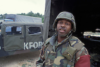 A US, KFOR, NATO soldier in Macedonia on the border with southern Kosovo. Peacekeepers were deployed in the region shortly after NATO bombing of Serbia.<br />