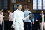 12 February 2017: UNC's Justine de Grasse before her Epee match. The University of North Carolina Tar Heels played the Northwestern University Wildcats at Card Gym in Durham, North Carolina in a 2017 College Women's Fencing match. UNC won the dual match 15-12 overall, 5-4 Foil, 5-4 Epee, and 5-4 Saber.