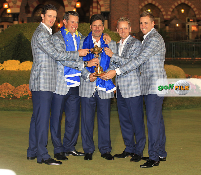 Winning captain Jose Maria Olazabal, Justin Rose, Lee Westwood, Luke Donald and Ian Poulter with the Ryder Cup at the end of Sunday's singles matches at the Ryder Cup 2012, Medinah Country Club,Medinah, Illinois,USA 30/09/2012.Picture: Fran Caffrey/www.golffile.ie.