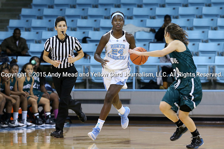09 November 2015: North Carolina's Destinee Walker (24) and Mount Olive's China Marshall (right). The University of North Carolina Tar Heels hosted the University of Mount Olive Trojans at Carmichael Arena in Chapel Hill, North Carolina in a 2015-16 NCAA Women's Basketball exhibition game. UNC won the game 99-45.