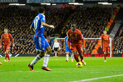 01.01.2014 Liverpool, England. Aly Cissokho  during the Premier League game between Liverpool and Hull City from Anfield.