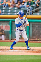 Dean Anna (9) of the Omaha Storm Chasers bats against the Salt Lake Bees in Pacific Coast League action at Smith's Ballpark on May 8, 2017 in Salt Lake City, Utah. Salt Lake defeated Omaha 5-3. (Stephen Smith/Four Seam Images)