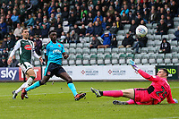 Fleetwood Town's Jordy Hiwula scoring his side's first goal<br /> <br /> Photographer Andrew Kearns/CameraSport<br /> <br /> The EFL Sky Bet League One - Plymouth Argyle v Fleetwood Town - Saturday 7th October 2017 - Home Park - Plymouth<br /> <br /> World Copyright &copy; 2017 CameraSport. All rights reserved. 43 Linden Ave. Countesthorpe. Leicester. England. LE8 5PG - Tel: +44 (0) 116 277 4147 - admin@camerasport.com - www.camerasport.com