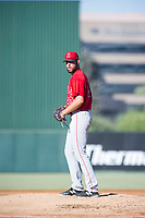 AZL Angels relief pitcher Mitchell Traver (90) prepares to deliver a pitch during a game against the AZL Indians on August 7, 2017 at Tempe Diablo Stadium in Tempe, Arizona. AZL Indians defeated the AZL Angels 5-3. (Zachary Lucy/Four Seam Images)