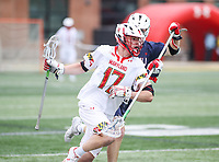 College Park, MD - May 13, 2018: Maryland Terrapins Austin Henningsen (17) runs with the ball during the NCAA first round game between Robert Morris and Maryland at  Capital One Field at Maryland Stadium in College Park, MD.  (Photo by Elliott Brown/Media Images International)