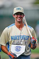 Northwest League All-Star Gio Brusa (29) of the Salem-Keizer Volcanoes, the winner of  the Home Run Derby at the 2nd Annual Northwest League-Pioneer League All-Star Game at Lindquist Field on August 2, 2016 in Ogden, Utah. The Northwest League defeated the Pioneer League 11-5. (Stephen Smith/Four Seam Images)
