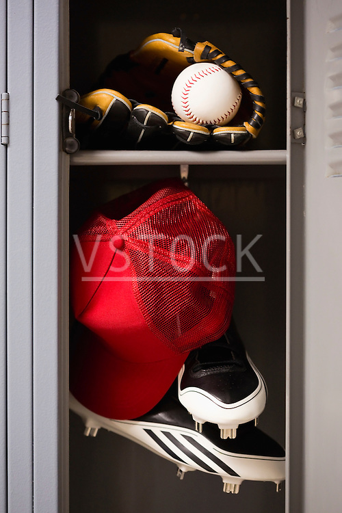 Baseball equipment in locker