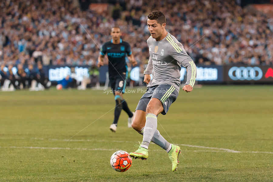 Melbourne, 24 July 2015 - Cristiano Ronaldo of Real Madrid runs with the ball in game three of the International Champions Cup match between Manchester City and Real Madrid at the Melbourne Cricket Ground, Australia. Real Madrid def City 4-1. (Photo Sydney Low / AsteriskImages.com)