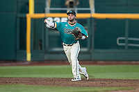 Michael Paez #1 of the Coastal Carolina Chanticleers throws during a College World Series Finals game between the Coastal Carolina Chanticleers and Arizona Wildcats at TD Ameritrade Park on June 28, 2016 in Omaha, Nebraska. (Brace Hemmelgarn/Four Seam Images)