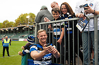Chris Cook of Bath Rugby mingles with supporters after the match. Aviva Premiership match, between Bath Rugby and Worcester Warriors on October 7, 2017 at the Recreation Ground in Bath, England. Photo by: Patrick Khachfe / Onside Images