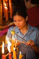 Buddhist worshipper, Wat Yai Chaya Mongkol or The Great Temple of Auspicious Victory, Ayutthaya, Thailand