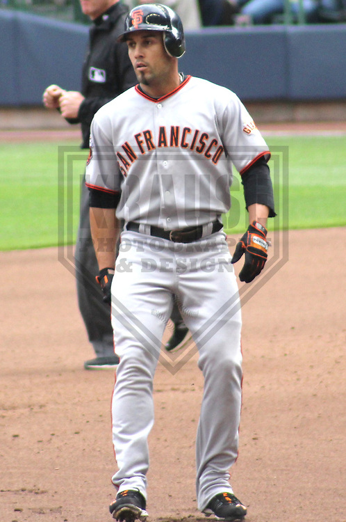 MILWAUKEE - MAY 2011: Andres Torres (56) of the San Francisco Giants during a game on May 28, 2011 at Miller Park in Milwaukee, Wisconsin. (Photo by Brad Krause) ....