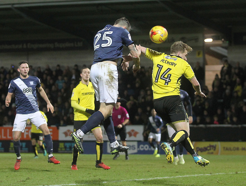 Preston North End's Jordan Hugill misses a good chance under pressure from Burton Albion's Damien McCrory<br /> <br /> Photographer Mick Walker/CameraSport<br /> <br /> The EFL Sky Bet Championship - Burton Albion v Preston North End - Monday 2nd January 2017 - Pirelli Stadium - Burton upon Trent<br /> <br /> World Copyright &copy; 2017 CameraSport. All rights reserved. 43 Linden Ave. Countesthorpe. Leicester. England. LE8 5PG - Tel: +44 (0) 116 277 4147 - admin@camerasport.com - www.camerasport.com